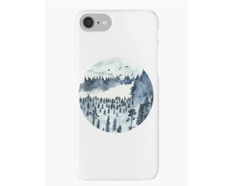 Blue Forest Landscape Art iPhone Case iPhone 4 5s 5c 6 6s 7 Plus Cover Hard Case Unique Stylish Painting Design Watercolor iPhone Case