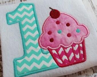 Applique Happy Birthday Cupcake machine embroidery design file, appliqué cupcake, Happy Birthday, Happy 1st Birthday, instant download