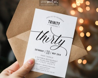 BY344 DIGITAL 30th Birthday Party Invitation - THIRTY modern minimal scripted invite | simple stylish black & white printable 40th 50th 60th