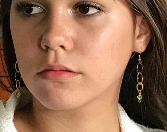 Gold Ring Aquamarine  Swarovski Crystal Earrings