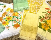 RESERVED for Carey Vintage Mix Match Retro Towel Set Lime GREEN YELLOW Butterflies Boho White bath Cannon Fieldcrest hand towel 10 piece