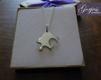 Thick Corner Piece Jigsaw Puzzle Silver Necklace Pendant