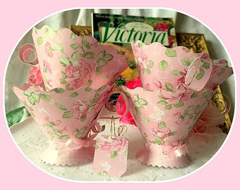 Paper Teacup Favors Table Decor Teaparty Wedding Bridal Baby Birthday Shower Party Supplies, Shabby Chic,  Alice in Wonderland Party Decor,