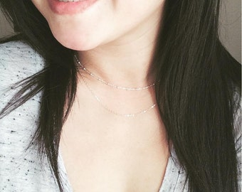 Plain Necklace Chain / Dainty Chain / Fine Necklace / Satellite Chain / Cable Chain / Thin Chain / Simple Cable Chain / Layering Necklace