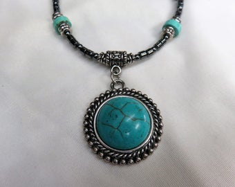 Beautiful Southwestern Turquoise Pendant on Hematite, Turquoise and Antique Silver Beads 18 Inch Necklace with a Sturdy Magnetic Clasp