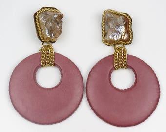 Pink Statement Earrings, Leather Earrings, Big Circle Earrings, Pink Earrings, Big Fashion Earrings, Large Earrings, Pink Drop Earrings
