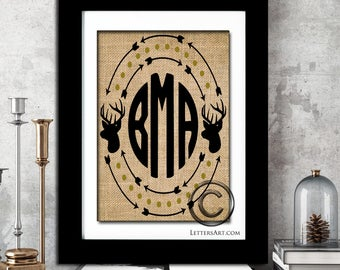 Deer Buck Monogram Wreath - Unique Hunters Gift - Gifts for Him or Her - Real Burlap Print - Custom Decor - Personalized Wedding Anniversary