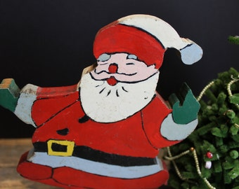 Vintage Hand Painted Wood Happy Santa // Cute Hand Made Santa