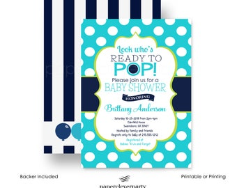 Vibrant Baby Shower Invitation Boys Ready to Pop Invite Bold Navy Dot and Lime Baby Boys Sprinkle Coed Party Printable or Printing