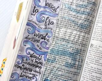 Bible Journaling Bible Verse Art Bible Verse Print great for faith journals Art Journal wind, waves, dark, moody Ephesians 4:14