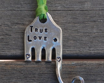 Ornament Elephant // TRUE LOVE //  hand stamped Fork recycled with Heart Stamps Lime Ribbon