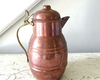 Vintage Copper Pot Kettle Hammered Teapot