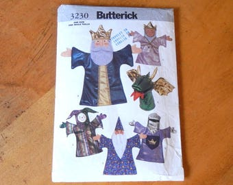 Uncut Butterick 3230 Puppet Theater and Hand Puppets Medieval Theme Queen-King-Dragon-Jester-Merlin Wizard