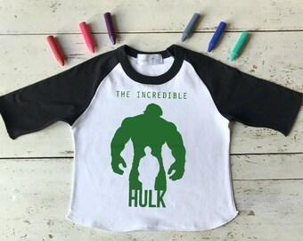 Hulk Tshirt - The Incredible Hulk Boys Tshirt - Easter Boy Shirts - Green Hulk - Raglan Tees - Boy Tshirt - Super Hero - T Shirt for Boys