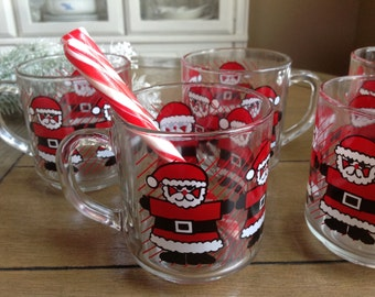Set of 5 Luminarc Christmas Santa Claus Mugs For Your Coffee or Hot Cocoa Made in France