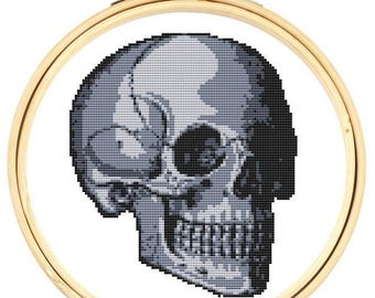 Skull Cross Stitch 'Happy skull' cross stitch kit, Counted cross stitch. Modern cross stitch