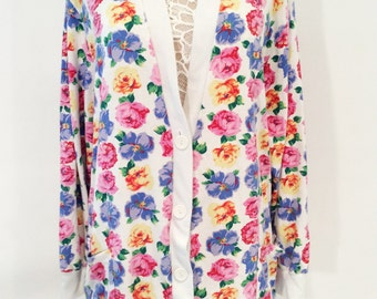 Vintage 1980's 1990's Floral White Button up cardigan sweater top