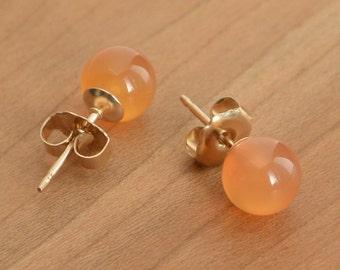 Natural Carnelian, high-quality Orange Carnelian, Carnelian earrings, Carnelian studs, Gold-Filled or Sterling Silver posts and earbacks