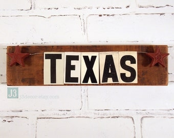 TEXAS Wall Hanger Sign, Shelf Plaque, Rustic Reclaimed Barn Wood, Repurposed Vintage Tin Letters, Dark Red Metal Stars, Western Decoration