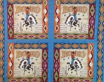 Rodeo bare back riding, Bronco horse, cowboy, Rodeo Cowboy Fabric Panel, also western handkerchief cowboy guitar and boot blue fabric