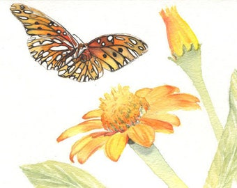 Butterfly painting 5x8 print from original watercolor painting, Butterflies, nature, wall art, flowers, art & collectibles,  earthspalette