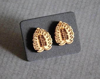 Palm Leaf Stud Earrings : Laser Cut Wood Posts