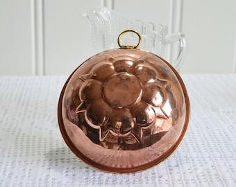 Small round copper mold, vintage Swedish sixties kitchen decor