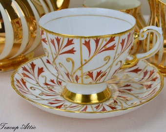 Tuscan Red And White Teacup And Saucer With Gold Accents, English Bone China Tea Cup Set, Afternoon Tea, ca. 1947