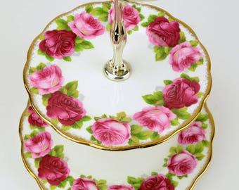 Royal Albert Old English Rose 2 Tier Dessert Tray, Vintage Bone China Cake Stand, Replacement China, ca. 1941-1977