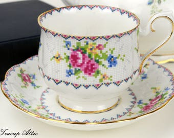Royal Albert Petit Point  Footed Hampton Teacup and Saucer, Needlepoint Teacup, English Teacup, Wedding Gift, ca. 1940-