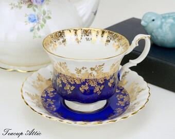 Royal Albert Cobalt Blue Regal Series Teacup and Saucer Set, Bone China Teacup and Saucer, ca. 1970