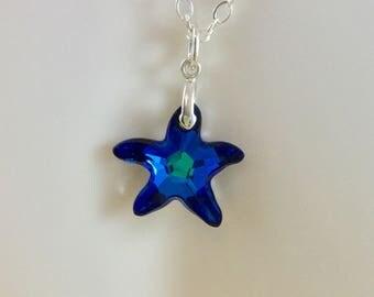 Bermuda Blue Swarovski Crystal Starfish on Sterling Chain-Blue Swarovski Crystal Charm on Sterling Chain-Swarovski Crystal Sterling Jewelry