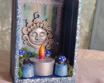 Small Moon Shrine.  Lunar Shrine.  Full Moon Altar.  Mini Shrine.  Mini Nicho.