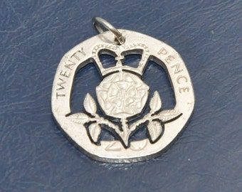Crowned Tudor Rose. Cut coin pendant necklace charm with stainless steel jumpring 20 pence UK Coin cut jewelry