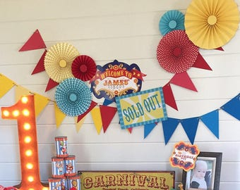 12 pc Circus/Carnival Rosettes -Paper Fans - Circus Birthday Party Decor - Paper Rosettes, Candy Buffet Decorations