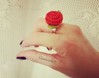 Adjustable Crochet Rose Ring