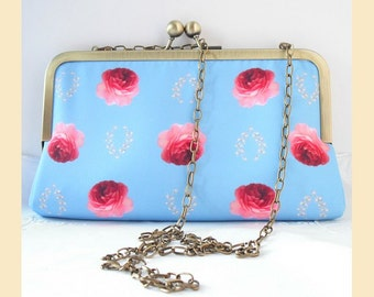 clutch bag with chain shoulder strap, handmade, red roses on blue print, evening purse, handbag with optional personalisation