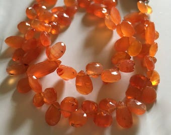 Carnelian Pears, Hearts, Smaller Bright Orange Totally Natural Gemstone Faceted
