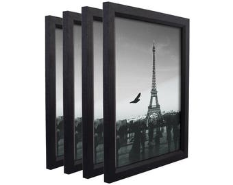 "Craig Frames, 13x19 Inch Black Wood Picture Frame, Economy 1"" Wide, Set of Four (7171610BK1319L-4)"