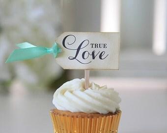 True Love, Wedding Cupcake toppers, Tag shape, Satin ribbon, vintage, decoration