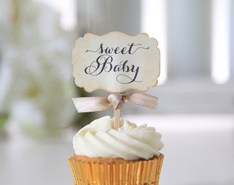 Baby Shower Cupcake toppers, Bee theme, Sweet Baby, Vintage