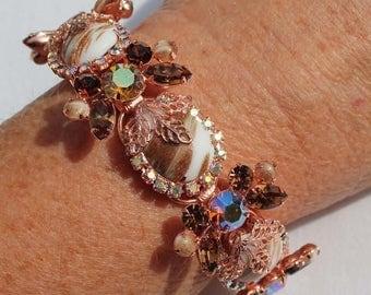 30% OFF SALE - Copper Fluss / Aventurine and Topaz Rhinestone Bracelet - Vintage-Inspired