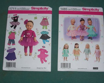 American Girl Doll Clothing Patterns..Simplicity 1711 or Simplicity 1485..18 Inch Doll Patterns...Top...Skirt..Leggins..Pants..Dress..