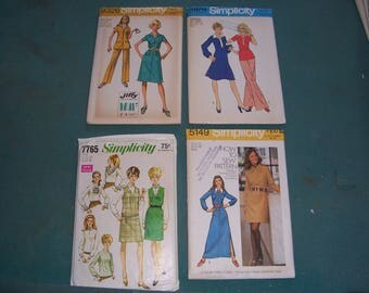 Vintage Mid Century Misses Clothing Patterns..Simplicity 9326 or 5149 or 7765 or 6801..Uncut & Factory folded..1960's/70's Clothing..Bust 36