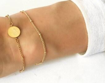Stacked braclets, Gold circle bracelet, circle bracelet gold, multi strand bracelet, multi layer braceled,simple gold bracelet,disc bracelet