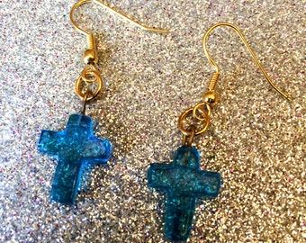 Light Blue Glass Cross Dropper Earrings-Gifts for women-Gifts for her-Handmade Jewellery