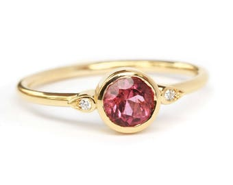 Simple Solitaire Engagement Ring, 0.5 Carat Pink Tourmaline Kiss Plus Ring, Unique Tourmaline Ring, Delicate Thin Ring, Gold Ring