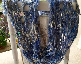 NEW Beautiful Hand Knit Cowl in Blues made of Raw Handspun Hand Dyed Wool Yarn