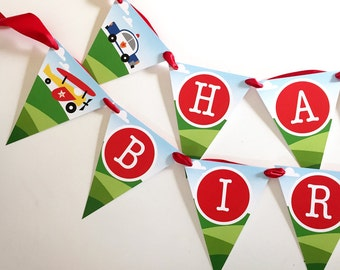 INSTANT DOWNLOAD - Transportation Happy Birthday Banner