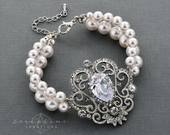 Wedding Bracelet Pearl Bridal Jewelry Wedding Jewelry Bridal Bracelet Cubic Zirconia Bling Statement Bracelet Vintage Calliope B23